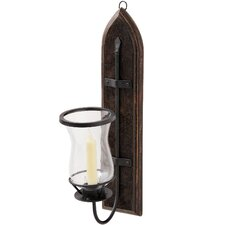 Iron Candle Sconce Mounted on Wooden Plaque