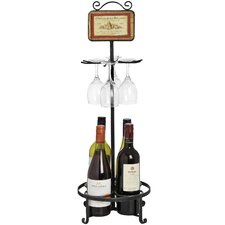 Metal Wine Bottle and Glass Holder