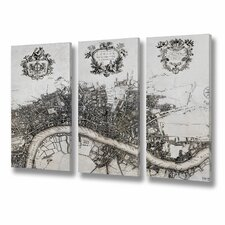 Map Canvas Art Prints (Set of 3)