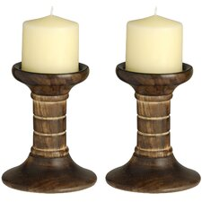 2 Piece Wooden Candle Stand Set