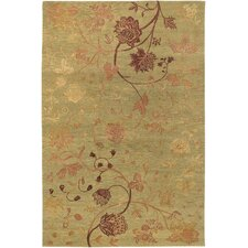 Impressions Garden Sage/Raspberry Floral Rug
