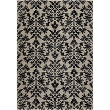 Everest Retro Gray Damask Area Rug