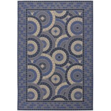 Five Seasons Sundial Cream/Blue Indoor/Outdoor Area Rug