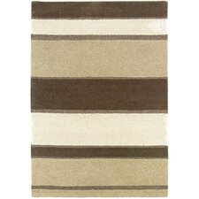Super Indo-Natural Retro Linen Beige Stripe Area Rug