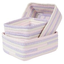 Ticking Stripe 3 Piece Nesting Basket Set