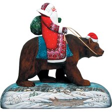 Derevo Grizzly Bear Santa Wood Base