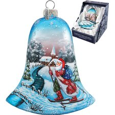 Santa on Ski Bell Ornament
