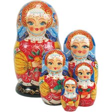 <strong>G Debrekht</strong> Russia 5 Piece Apple Girl Nested Doll Set