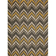 Geo Yellow Hooked Area Rug