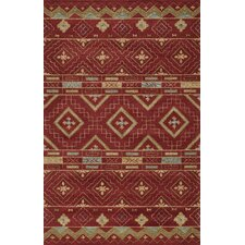Habitat Red Ikat Area Rug