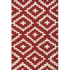 Laguna Red Geometric Rug