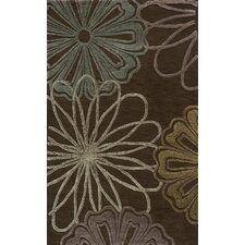 Sensations Flower Brown Area Rug