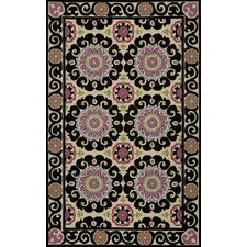 Suzani Hook Black Rug