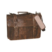 Distress Leather Satchel Briefcase in Brown
