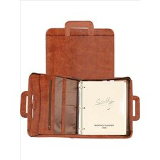 Antique Calf Leather Zip Binder With Drop Handles in Brown