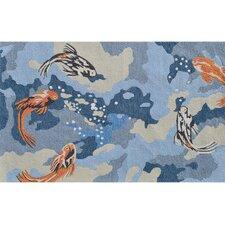 Carpio Fish Blue/Orange Novelty Rug