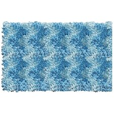 Shaggy Raggy Blue Chevron Rug