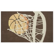 Hoops Brown Kids Rug