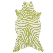 Resort Green Zebra Shaped Outdoor Rug