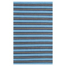 Resort Spindle Stripe Blue / Yellow Outdoor Rug