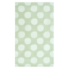 Polka Mania White/Green Kids Rug