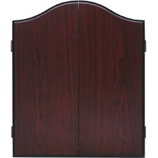 Arched Cabinet Dartboard Combo in Mahogany Finish