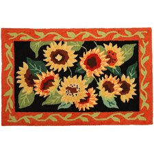<strong>Homefires</strong> Sunflowers On Black Rug