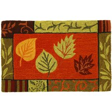 Seasonal Carefree Fall Leaf Mosaic Novelty Rug