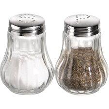 2-tlg. Salz- und Pfefferstreuer Set geriffelt mit Deckel