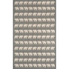 Elliot Silver Elephants Indoor/Outdoor Area Rug