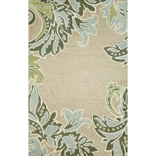 Ravella Ornametal Leaf Boder Aqua Indoor/Outdoor Rug