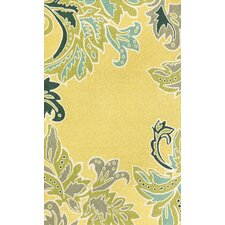 <strong>Trans-Ocean Rug</strong> Ravella Ornamental Leaf Boder Yellow Indoor / Outdoor Rug