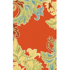 Ravella Ornamental Leaf Boder Orange Indoor/Outdoor Rug