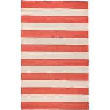 Frontier Red/Ivory Striped Area Rug