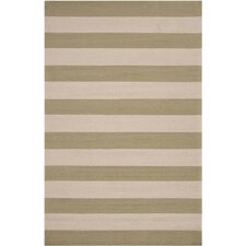 Rain Parchment/Sage Green Stripe Indoor/Outdoor Rug