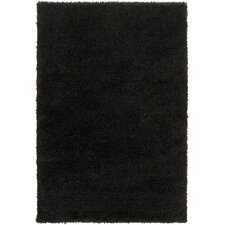 Luxury Shag Jet Black/Fatigue Green Rug
