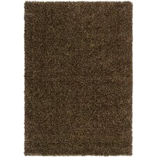 Luxury Shag Dark Chocolate/Khaki Green Rug