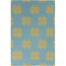 Frontier Teal Floral and Plants Area Rug