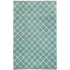 Cococozy Pale Blue Cream Picket Rug