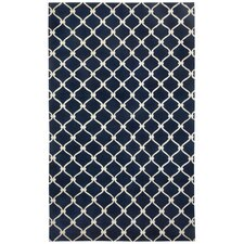 Cococozy Dark Blue Cream Picket Rug