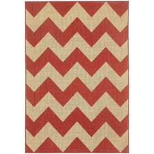 Elsinore Red Pepper Chevron Indoor/Outdoor Rug