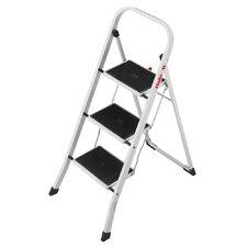 """Stahl-Klapptritt """"K20"""" mit 3 Stahl-Stufen in Weiß"""