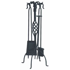 4 Piece Wrought Iron Fire Tool Set with Center Weave With Stand