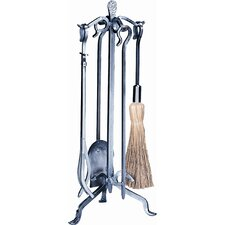 4 Piece Pewter Crooked Fireplace Tool Set With Stand
