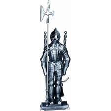 <strong>Uniflame Corporation</strong> Mini Triple Pleated Soldier Pewter Fire Tool Set With Stand