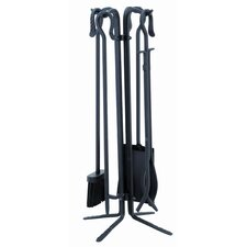 4 Piece Powdercoat Fireplace Tool Set With Stand