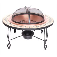 Outdoor Fireplace with Copper Bowl and Ceramic Tile Mantel