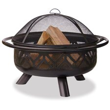 Bronze Outdoor Firebowl with Geometric Design