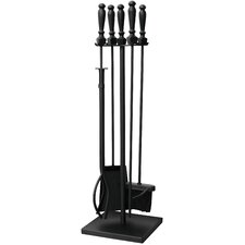 5 Piece Wrought Iron Fireplace Tool Set