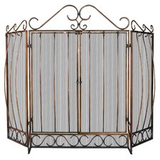 3 Panel Bronze Fireplace Screen